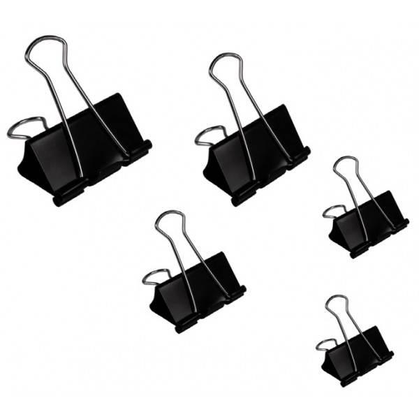 Molle double clip nero-acciaio 50 mm conf 12 molle Buffetti
