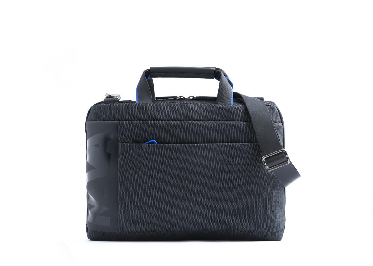 Nava Cartella Slim Cross con 2 manici, porta PC e iPad Nera - Blu