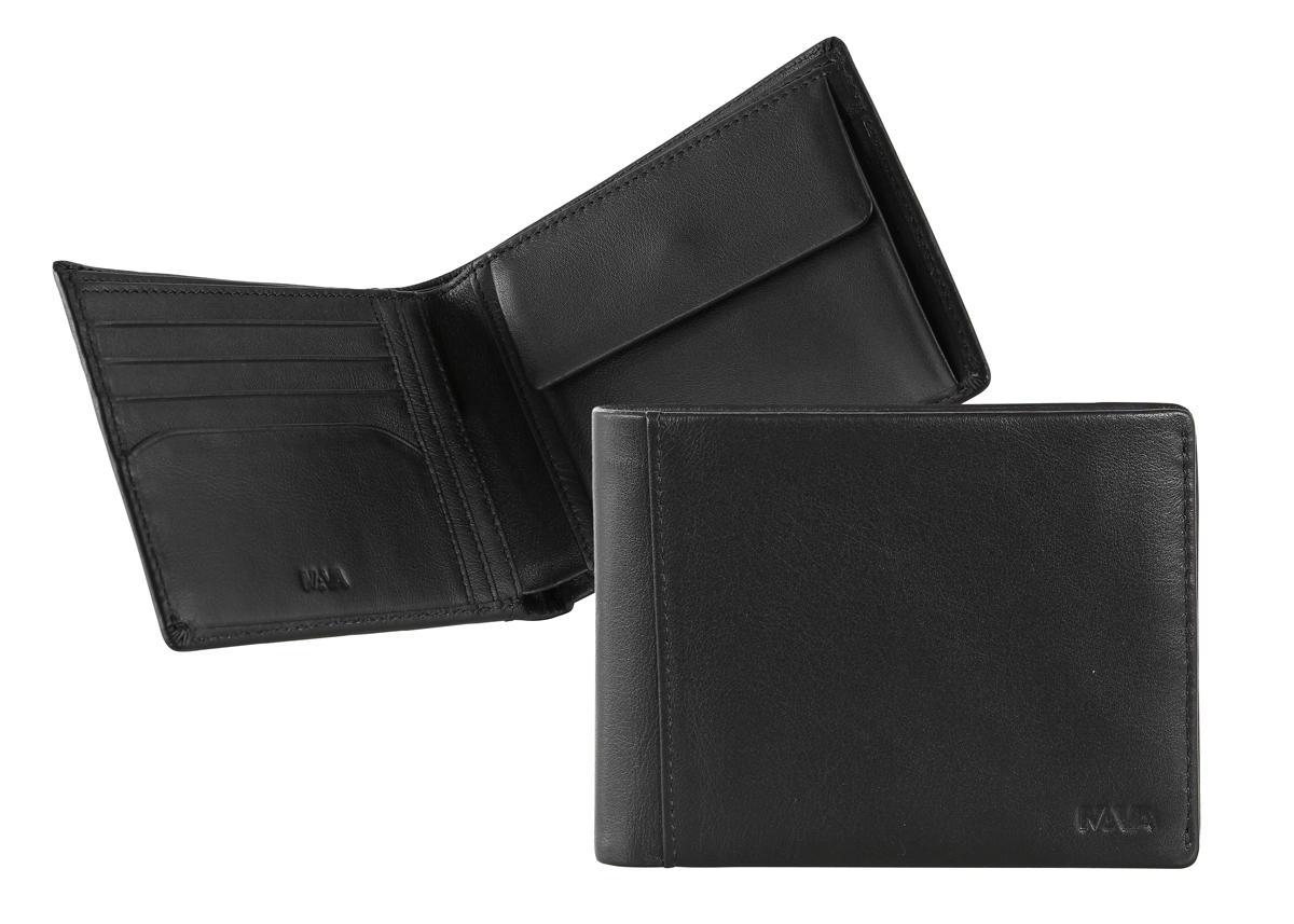 Nava Portafoglio SMOOTH uomo , 4 carte di credito e portamonete Nero