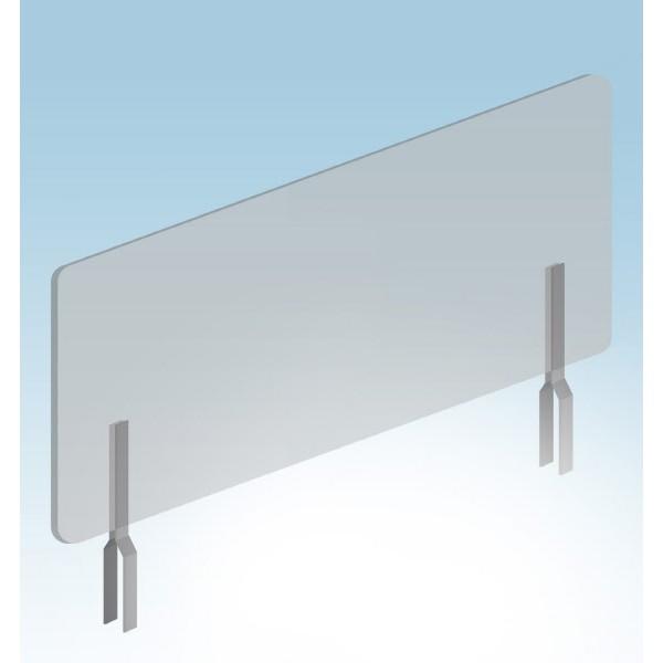 Pannello separatore protettivo in plexiglass 50x100 cm. con staffe ad incastro
