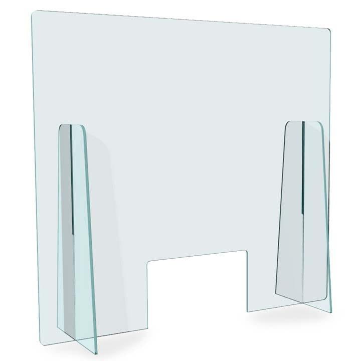 Pannello trasparente con base a incastro  tipo plexiglass - Spessore  5 mm - 90x100 con apertura per passaggio documenti