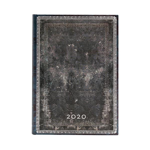 Paperblanks Agenda Mini Giornaliera 12 mesi 2020 con chiusura fascia elastica Grigia
