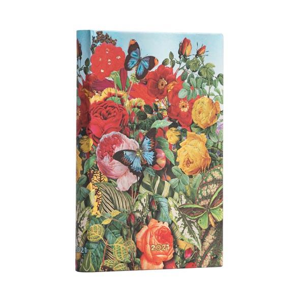 Paperblanks Agenda MINI Orizzontale 12 mesi settimanale 2021 Il Giardino delle farfalle