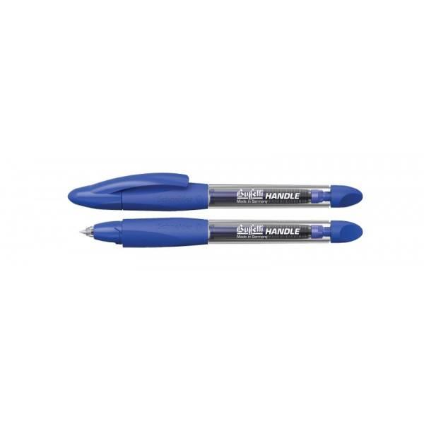 Penna a sfera roller con cartuccia blu e fusto trasparente con grip triangolare blu Buffetti