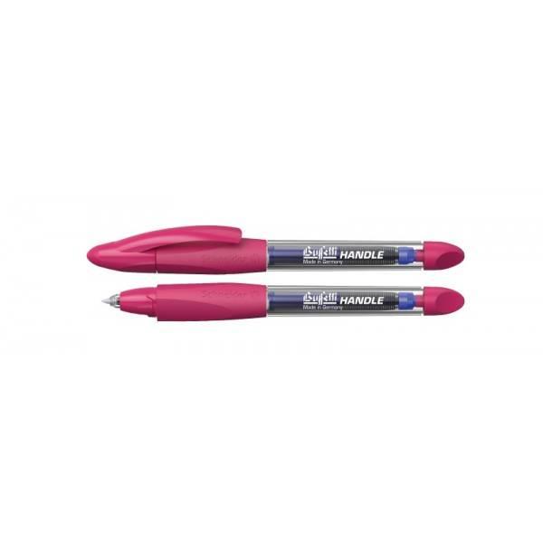 Penna a sfera roller con cartuccia blu e fusto trasparente con grip triangolare rosa Buffetti