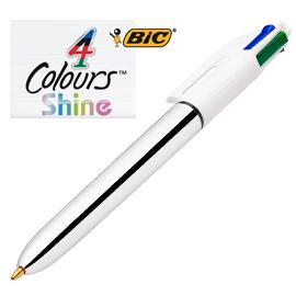 Penna sfera scatto 4 colori Shine 1,0 mm fusto argento colori assortiti