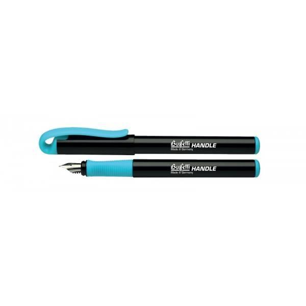 Penna stilografica con inchiostro blu cancellabile, apposito pennino e fusto nero e grip azzurra