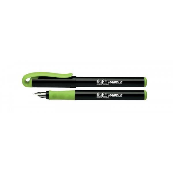 Penna stilografica con inchiostro blu cancellabile, apposito pennino e fusto nero e grip verde