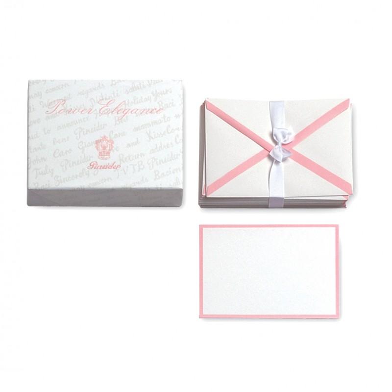 Pineider Power Elegance Confezione 25 Cartoncini  Buste bianco-rosa