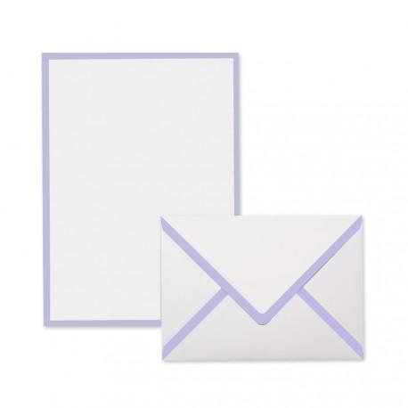 Pineider Power Elegance Confezione 50 Cartoncini  Buste bianco-lilla