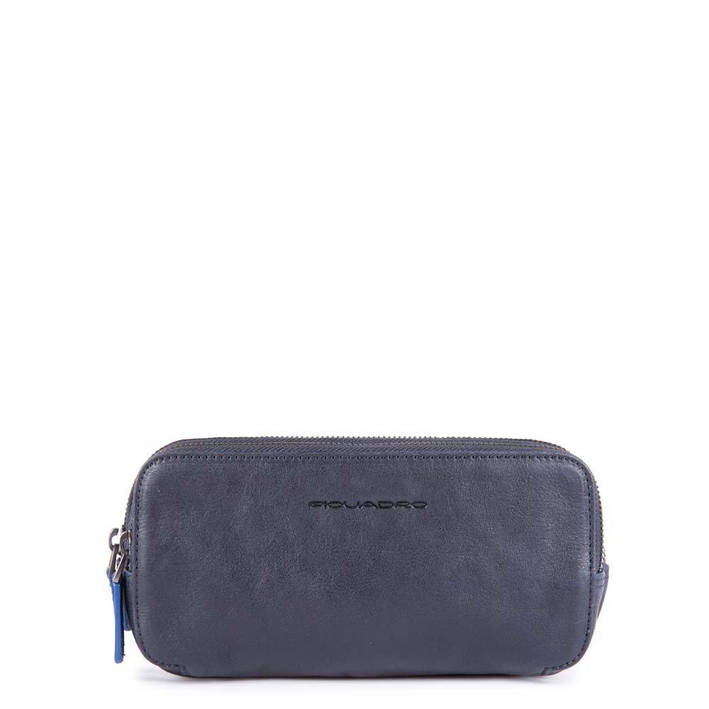 Piquadro Astuccio Stationery a tre cerniere con manico, porta 12 carte di credito Blu
