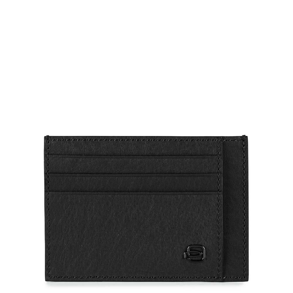 Piquadro Bustina Black Square porta carte di credito tascabile Nero