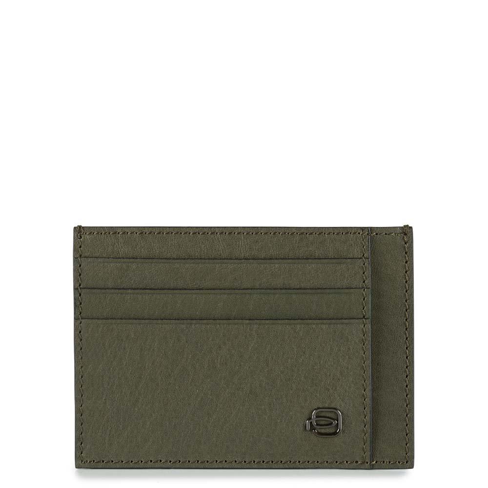 Piquadro Bustina Black Square porta carte di credito tascabile Verde oliva