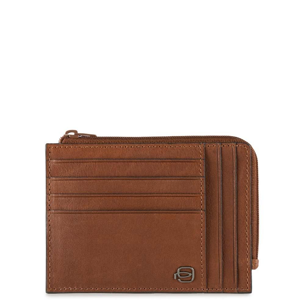 Piquadro Bustina Black Square portamonete e carte di credito con protezione RFID Cuoio