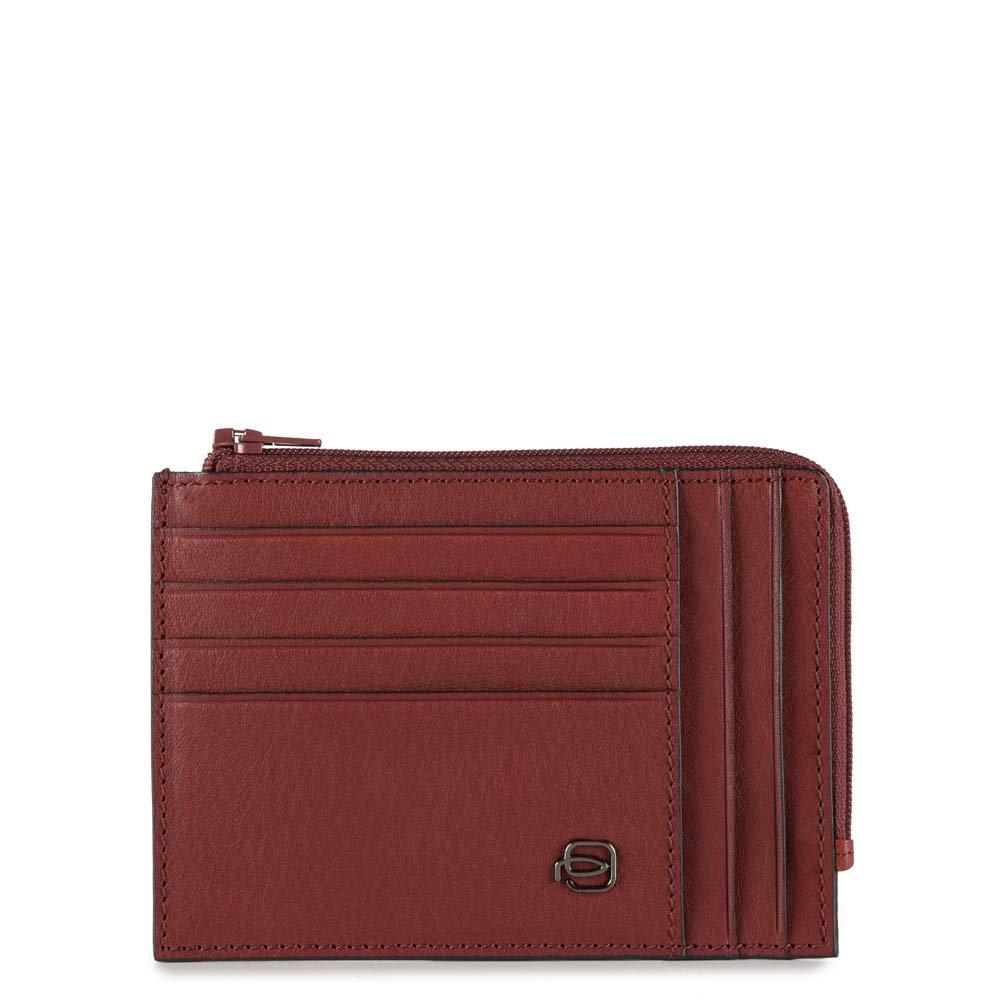 Piquadro Bustina Black Square portamonete e carte di credito con protezione RFID Rosso mattone
