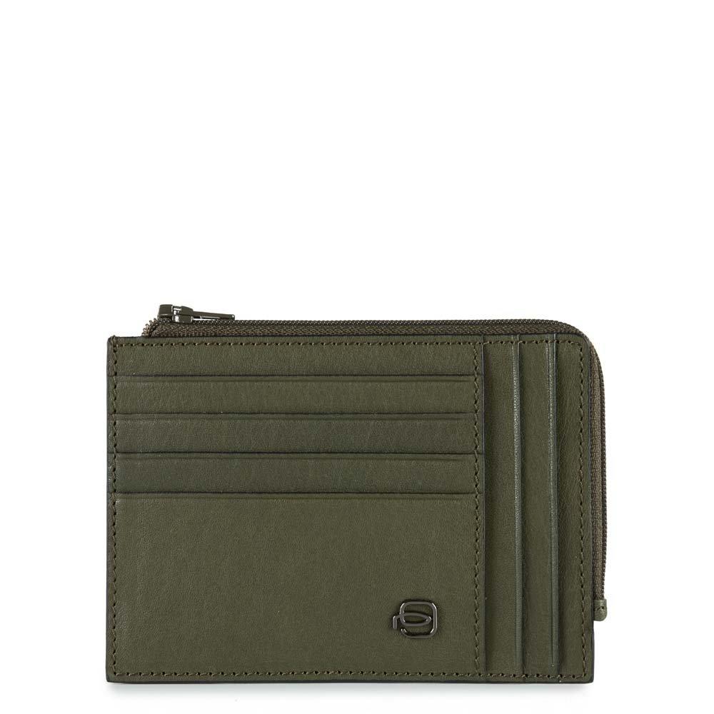 Piquadro Bustina Black Square portamonete e carte di credito con protezione RFID Verde oliva