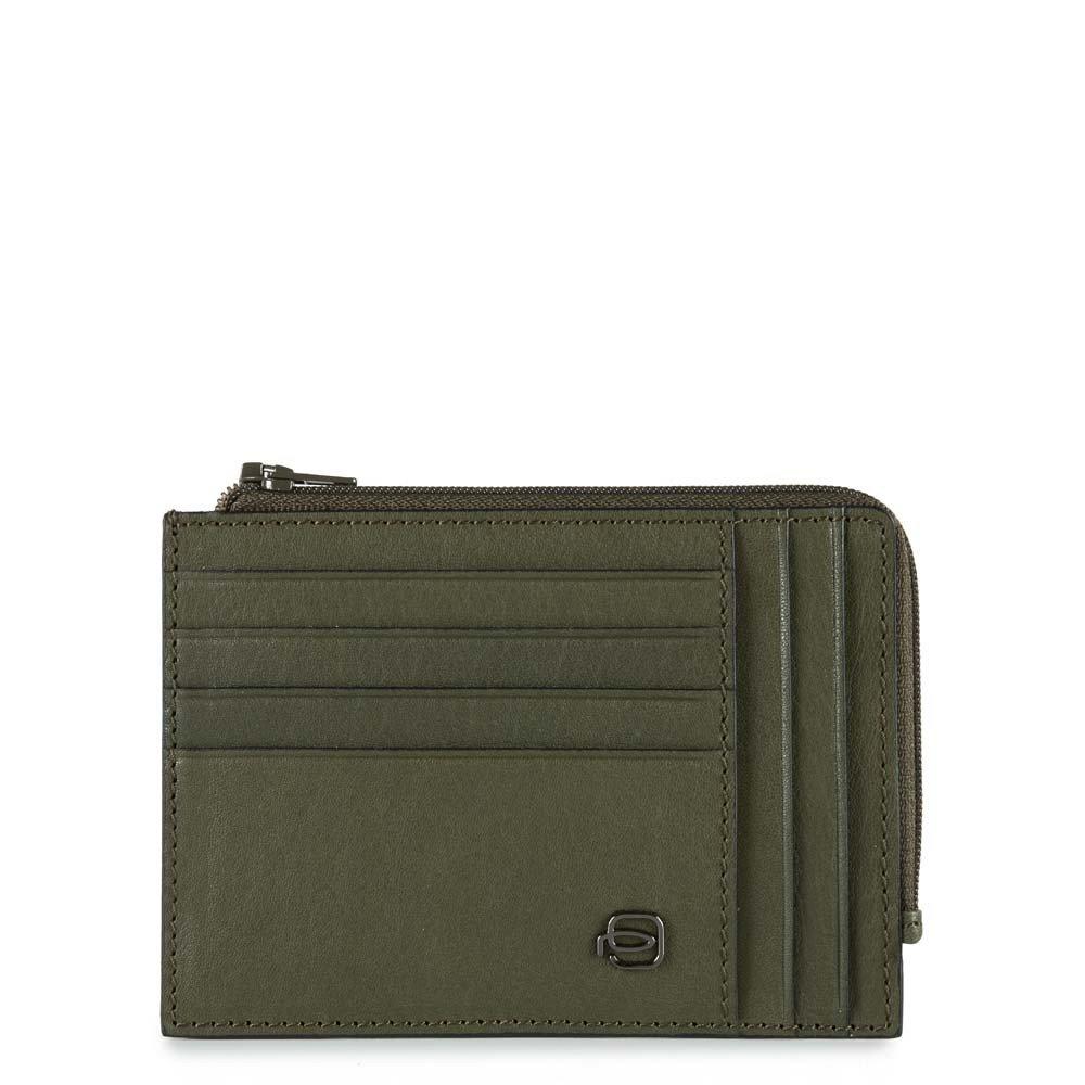 Piquadro Bustina Black Square portamonete e carte di credito con protezione RFID Verde