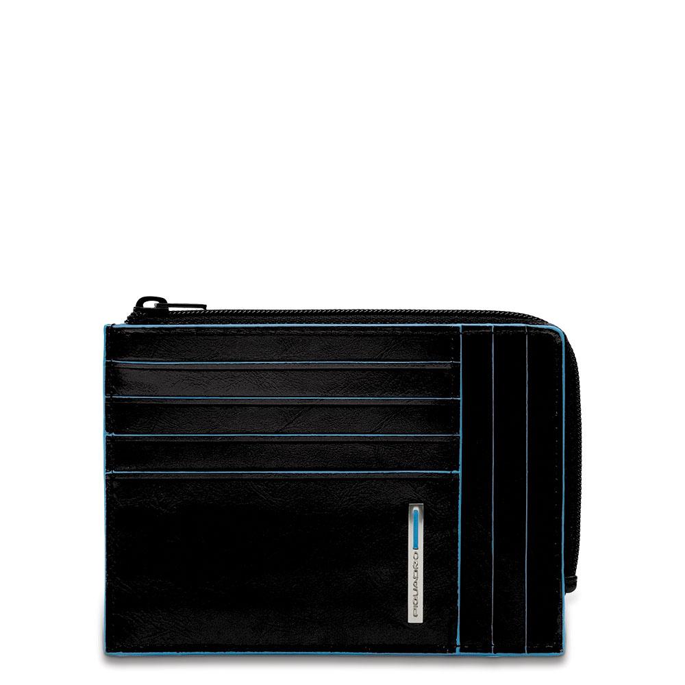 Piquadro Bustina Blu Square portamonete documenti Nero