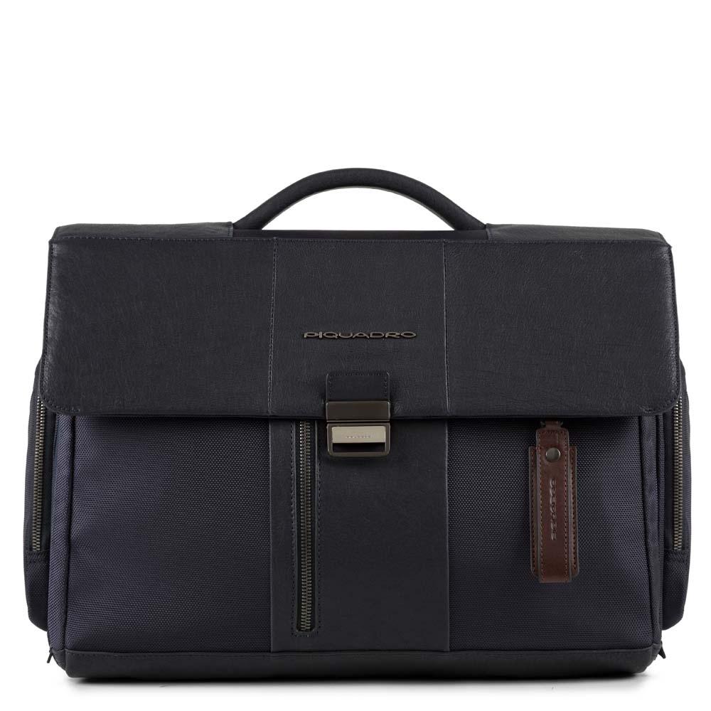 Piquadro Cartella porta computer Brief con scomparto iPad®, tasca porta ombrello-bottiglia e CONNEQU Blu
