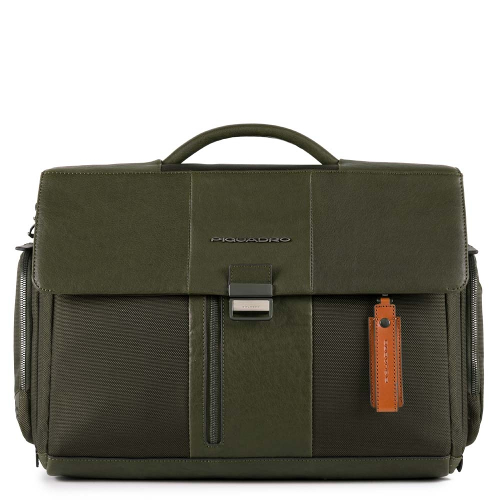 Piquadro Cartella porta computer Brief con scomparto iPad®, tasca porta ombrello-bottiglia e CONNEQU Verde