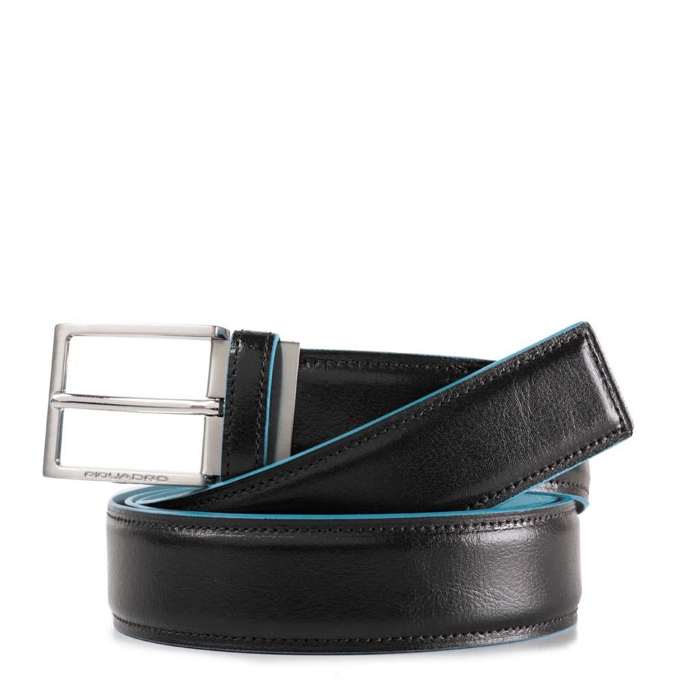 Piquadro Cintura Blue Square con fibbia ad ardiglione Nera