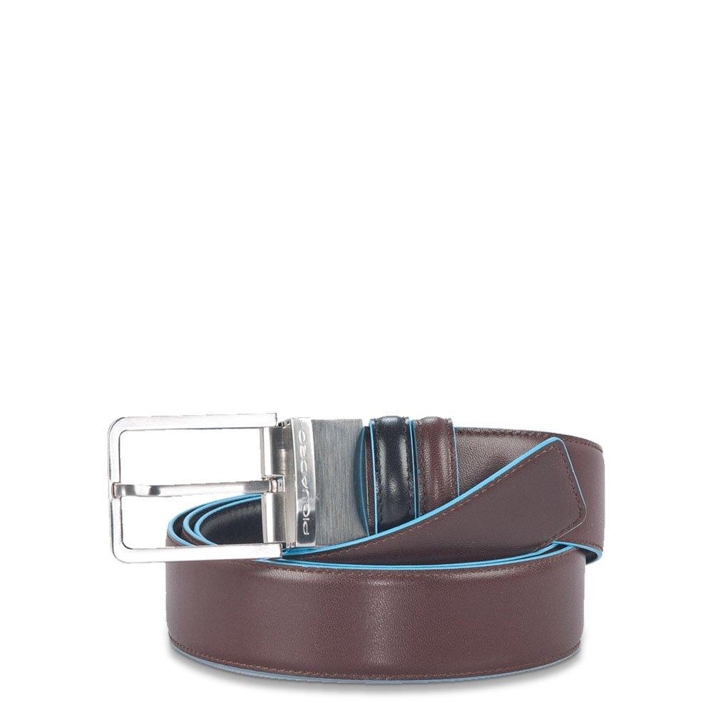 Piquadro Cintura uomo Blue Square doubleface con fibbia ad ardiglione Nero - Mogano