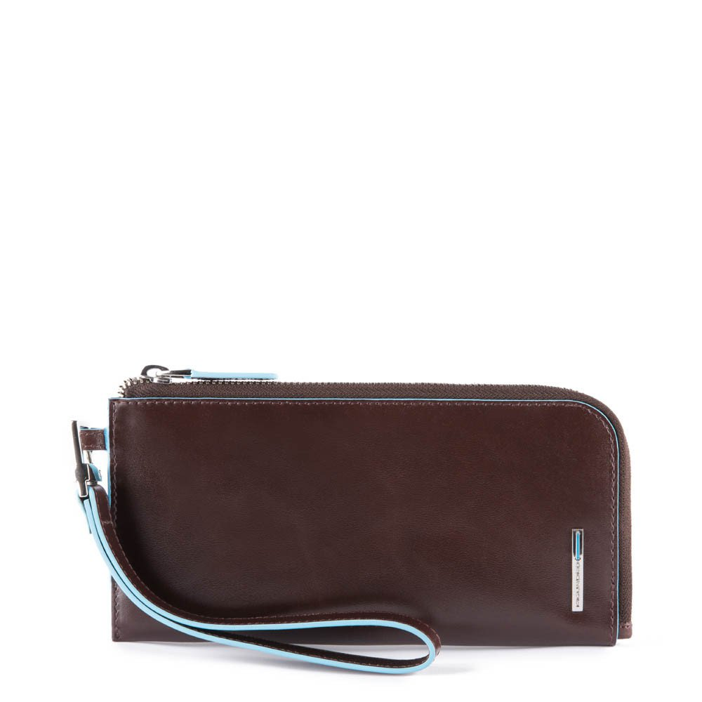 Piquadro Pochette Blue Square portafoglio sottile per smartphone con porta carte di credito e protezione anti-frode RFID Mogano
