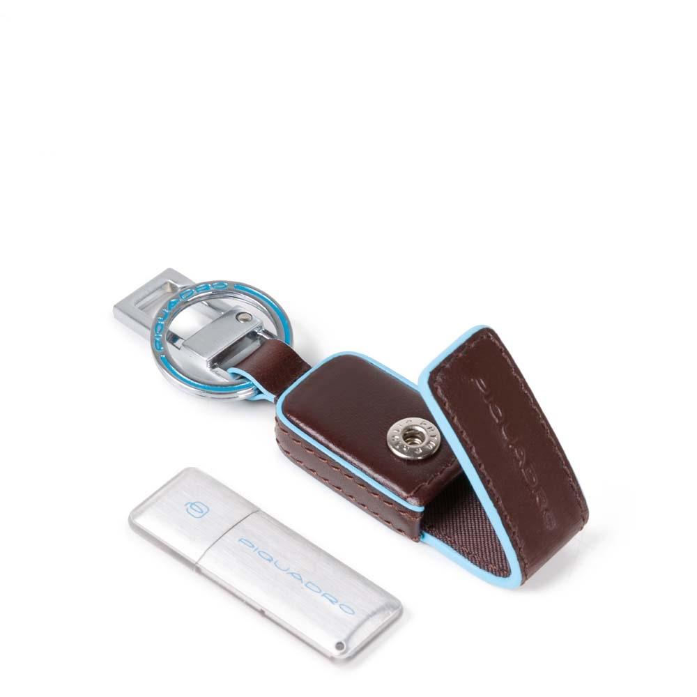 Piquadro Portachiavi Blue Square con custodia in pelle e chiavetta USB 16 GB ...