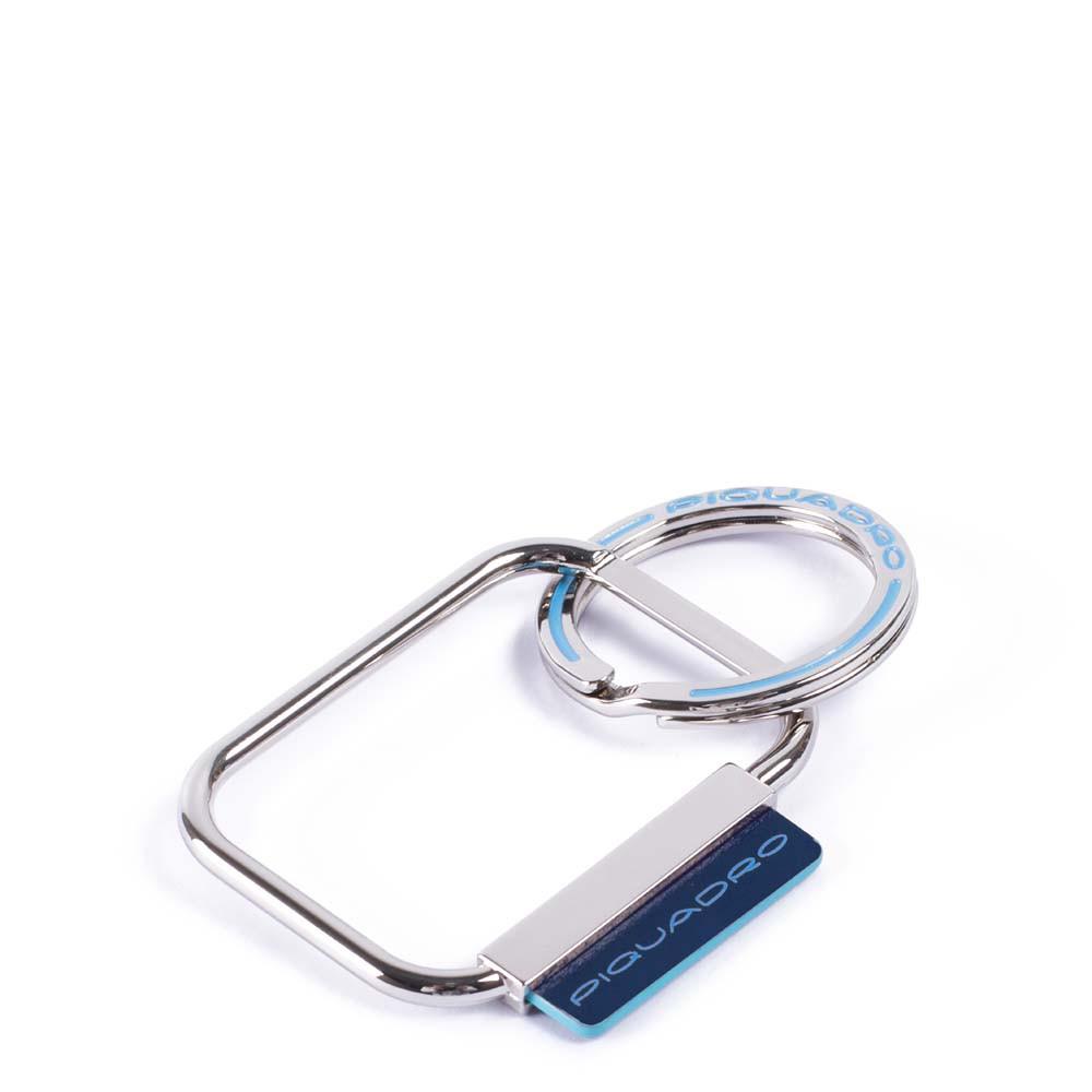 Piquadro Portachiavi Blue Square con dettagli in pelle Blu