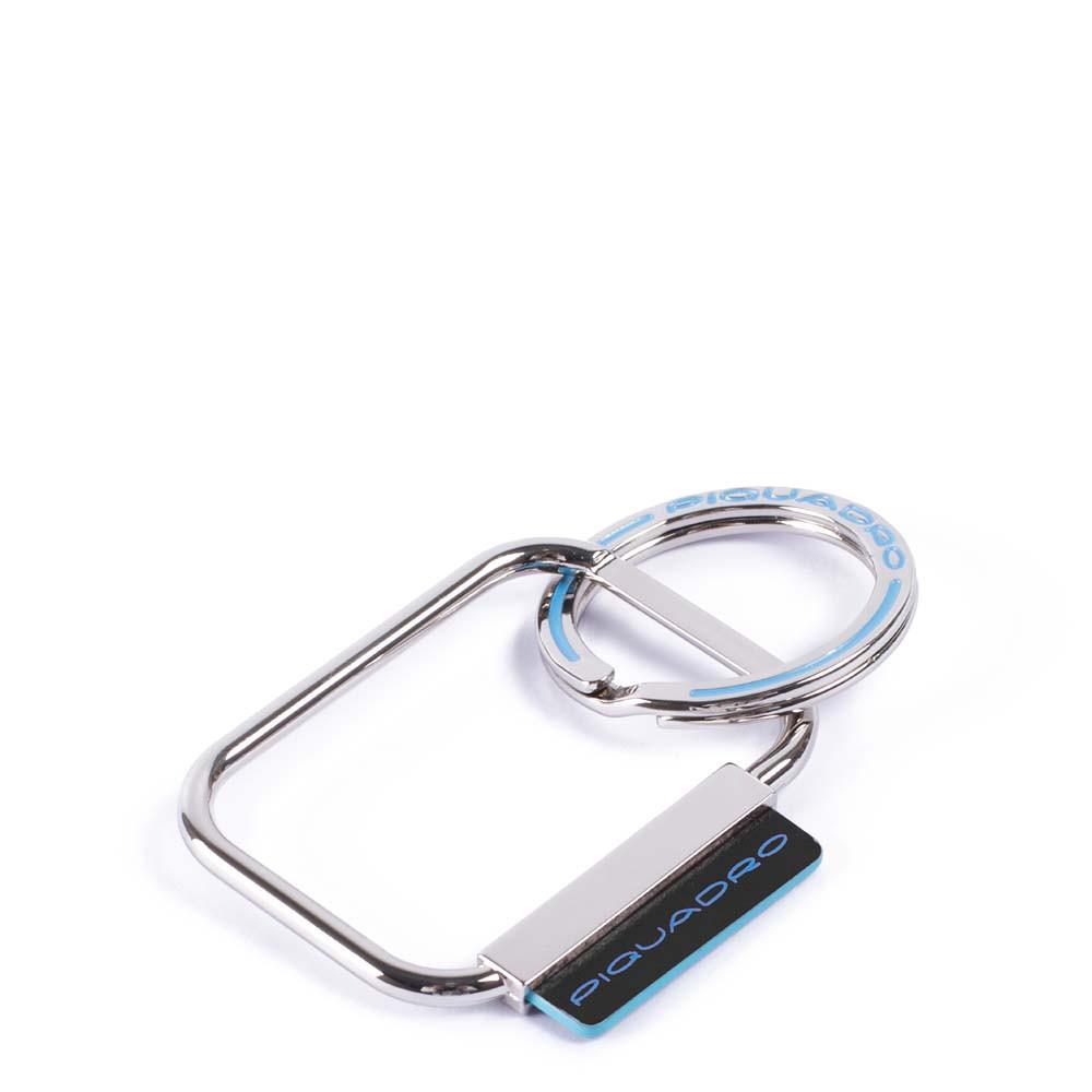 Piquadro Portachiavi Blue Square con dettagli in pelle Nero
