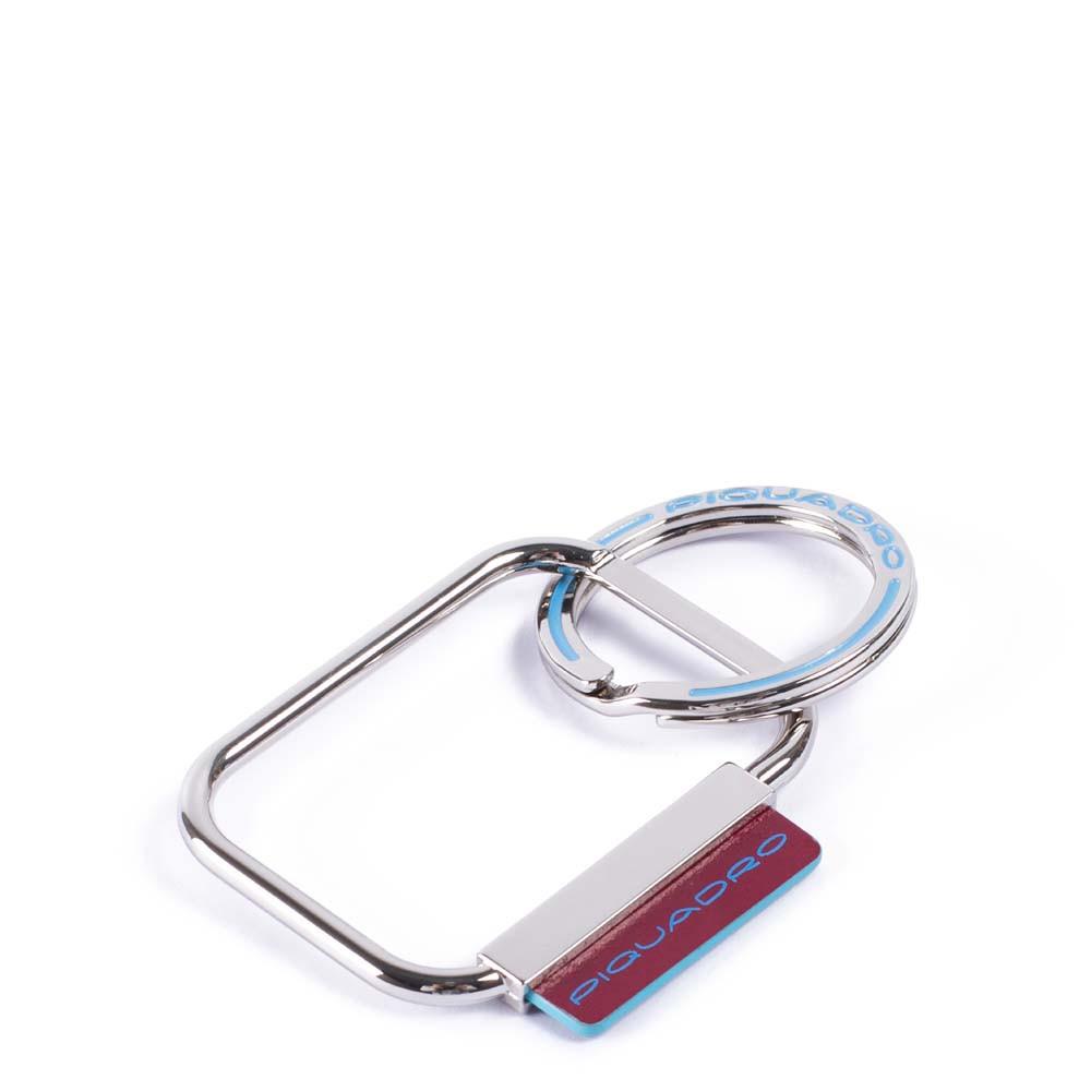 Piquadro Portachiavi Blue Square con dettagli in pelle Rosso