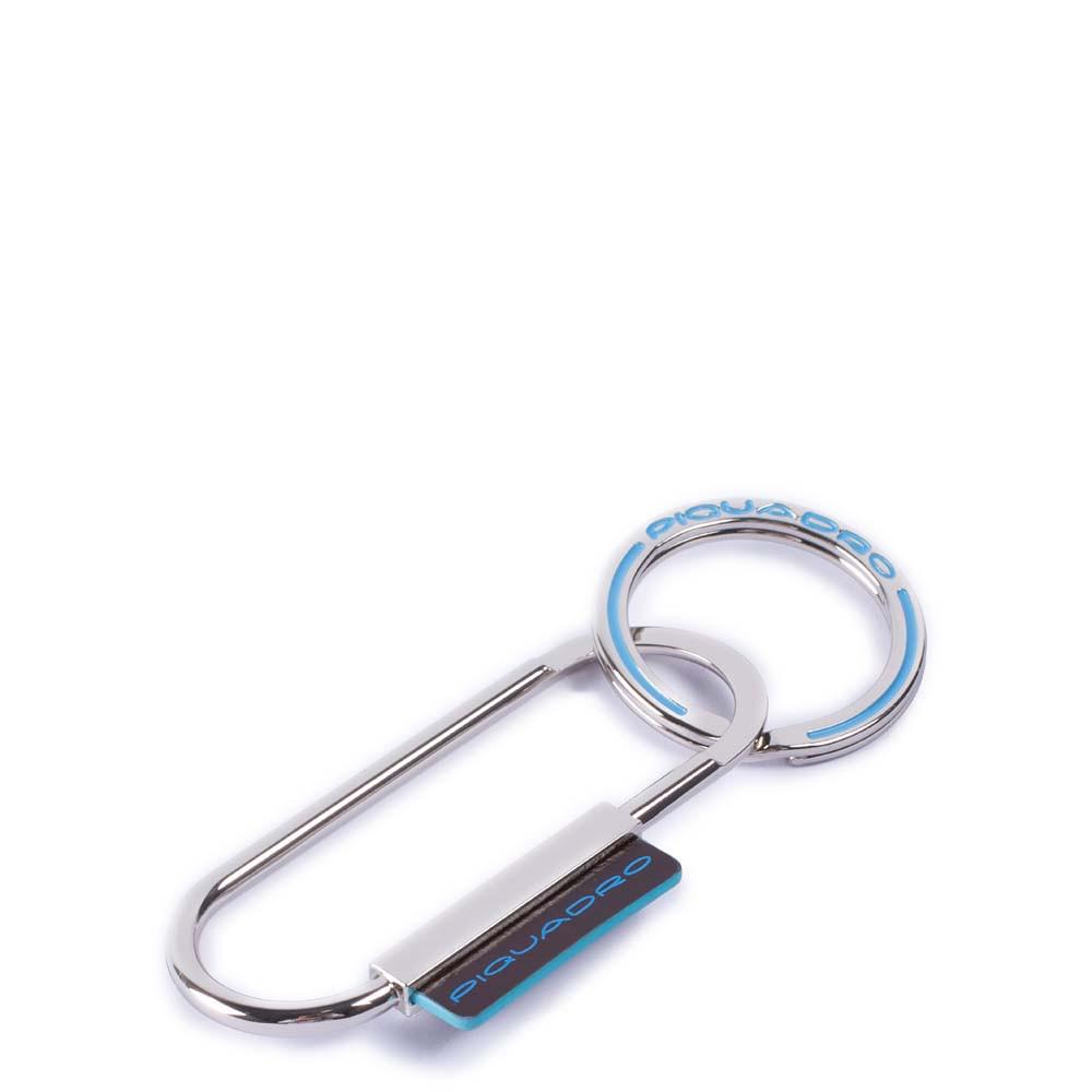 Piquadro Portachiavi Blue Square in metallo con dettaglio pelle Mogano