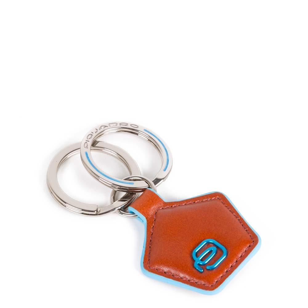Piquadro Portachiavi Blue Square in pelle forma pentagonale Arancio