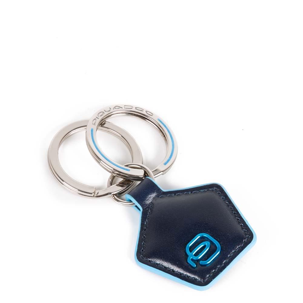 Piquadro Portachiavi Blue Square in pelle forma pentagonale Blu Notte
