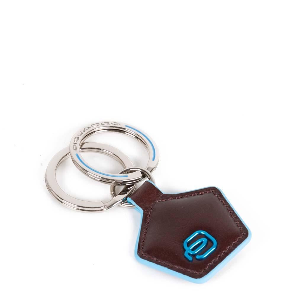 Piquadro Portachiavi Blue Square in pelle forma pentagonale Mogano