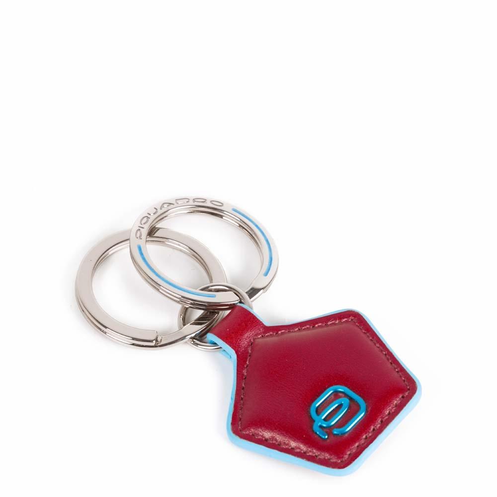 Piquadro Portachiavi Blue Square in pelle forma pentagonale Rosso