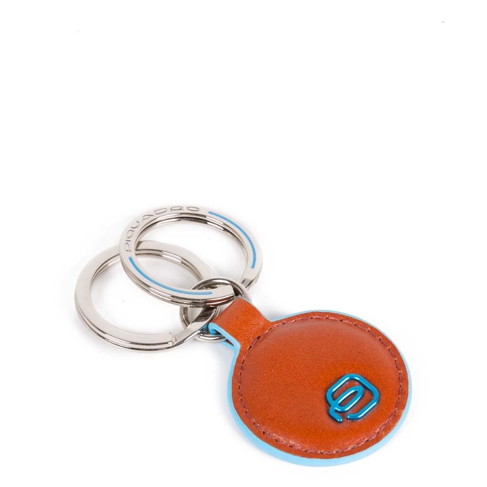 Piquadro Portachiavi Blue Square in pelle forma tonda Arancio
