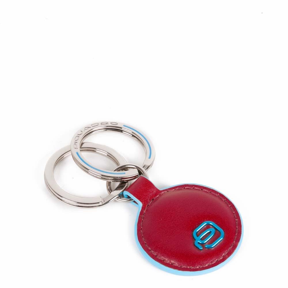 Piquadro Portachiavi Blue Square in pelle forma tonda Rosso