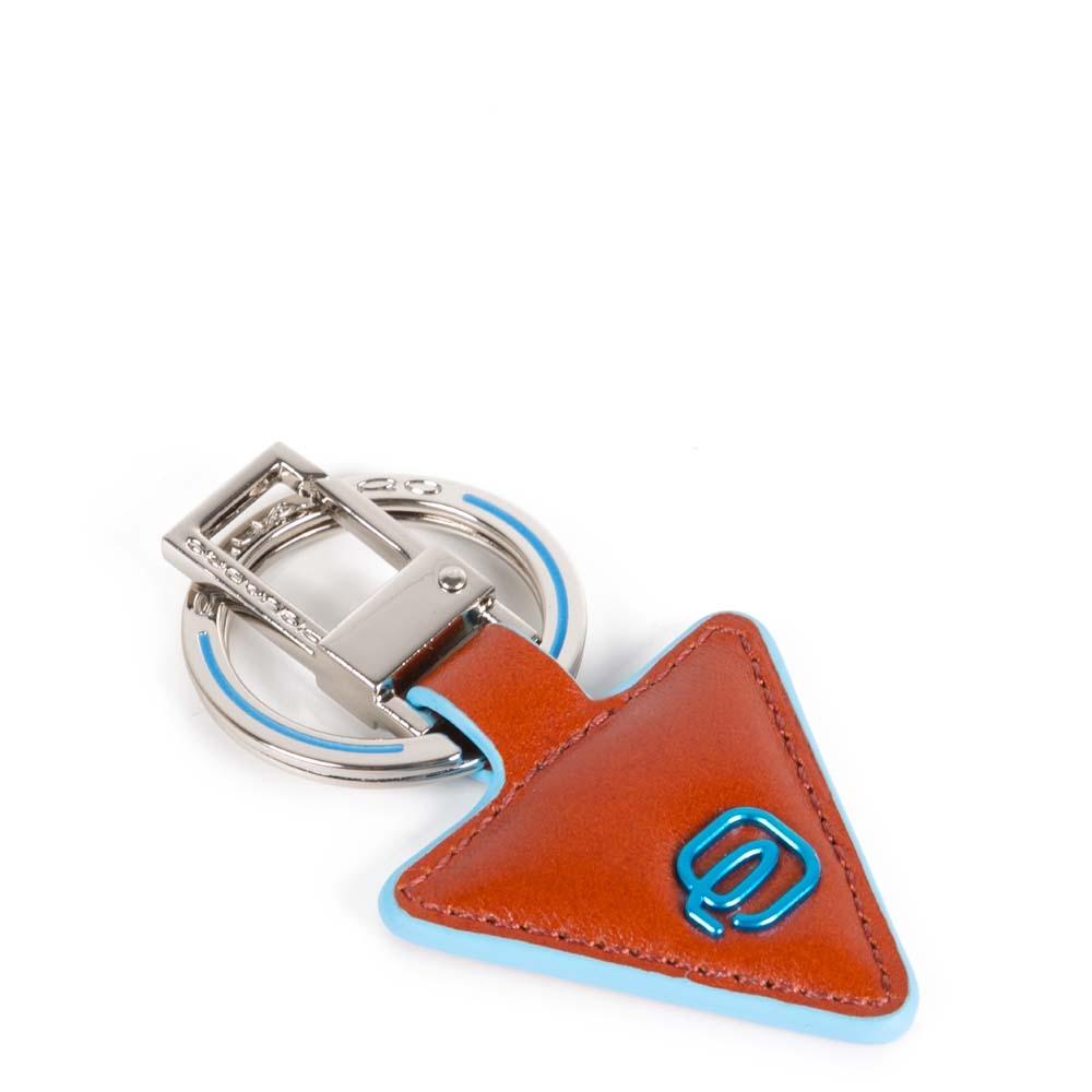 Piquadro Portachiavi Blue Square in pelle forma triangolare Arancio