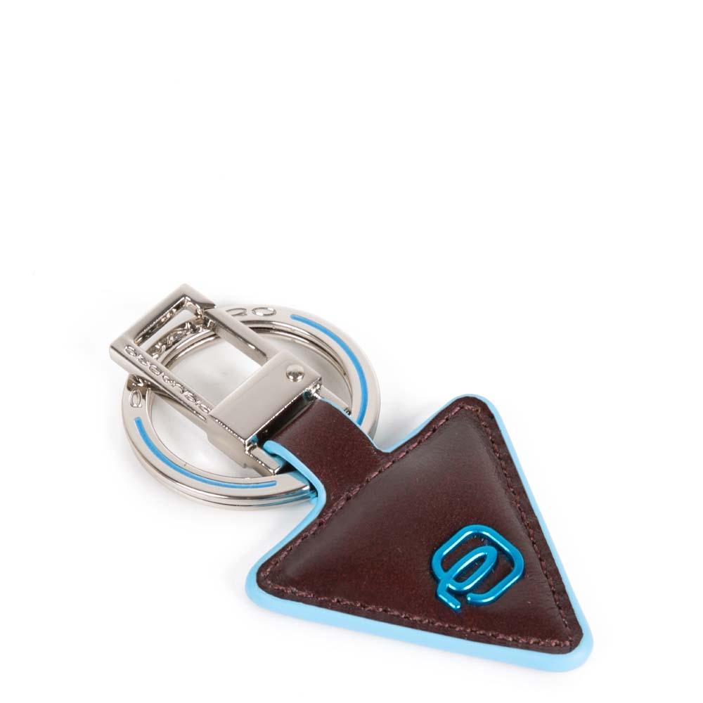 Piquadro Portachiavi Blue Square in pelle forma triangolare Mogano