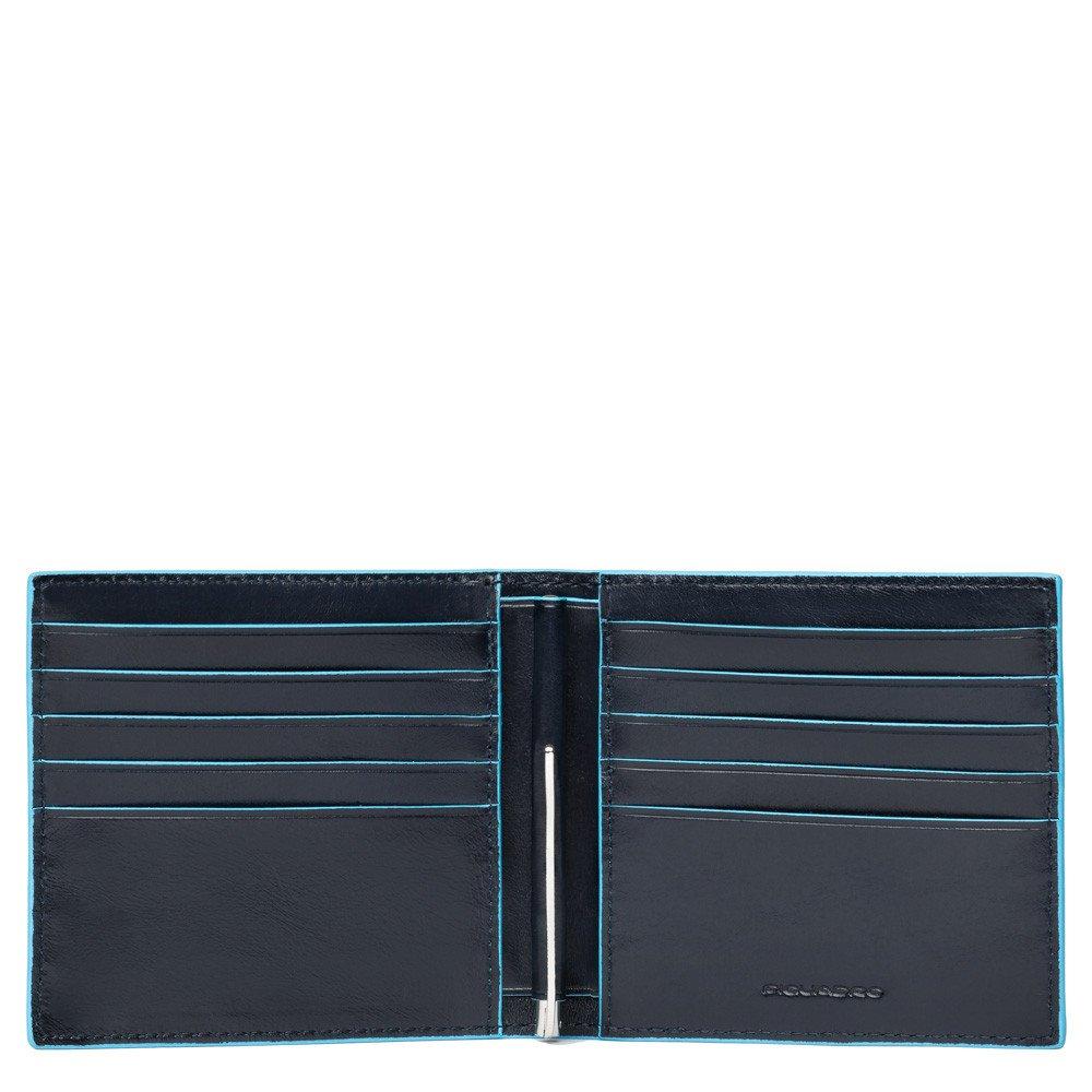 Piquadro Portafoglio Blu Square con molla porta dollari e carta di credito Blu
