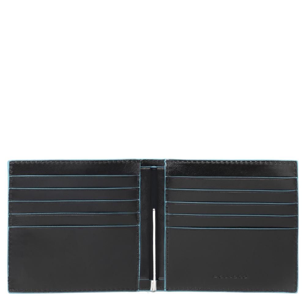 Piquadro Portafoglio Blu Square con molla porta dollari Nero