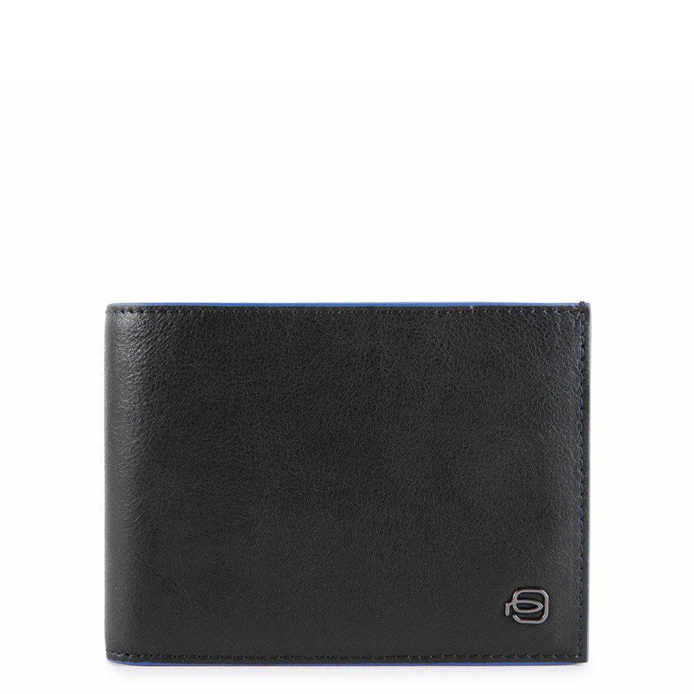 Piquadro Portafoglio Blue Square con dodici scomparti porta carte di credito e protezione anti-frode RFID Nero