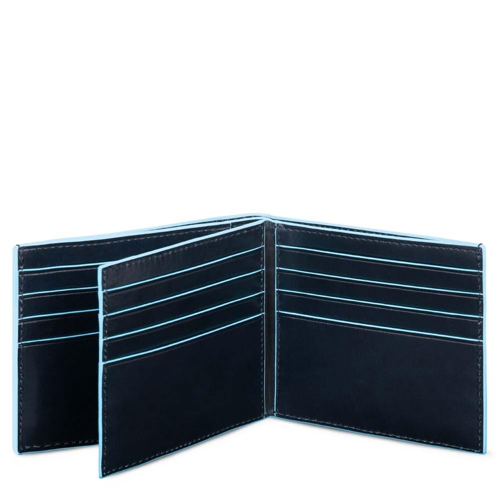 Piquadro Portafoglio Blue Square in pelle con tasche per carte di credito Blu...