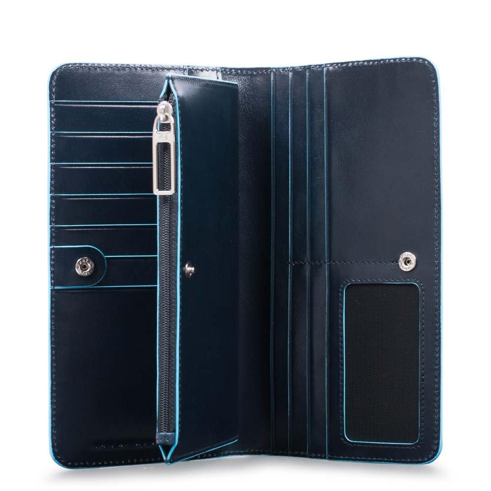 Piquadro Portafoglio donna Blue Square grande con portamonete Blu