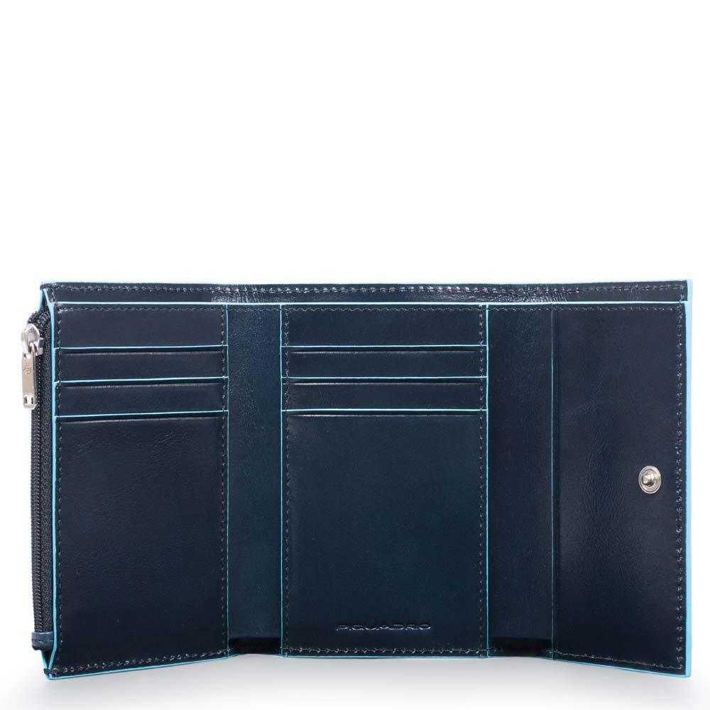 Piquadro Portafoglio Donna Blue Square in pelle Blu