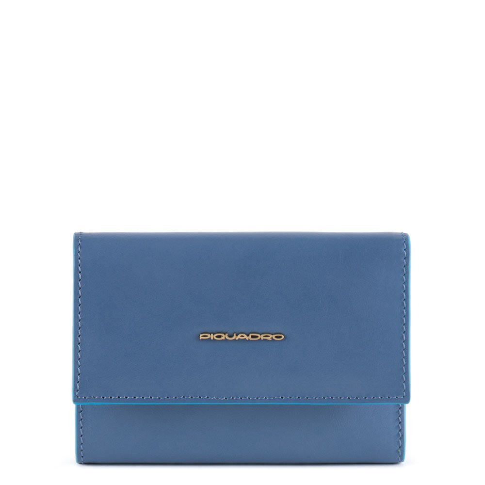 Piquadro Portafoglio donna in pelle con 6 fessure carta di credito Blue Square Blu Polvere