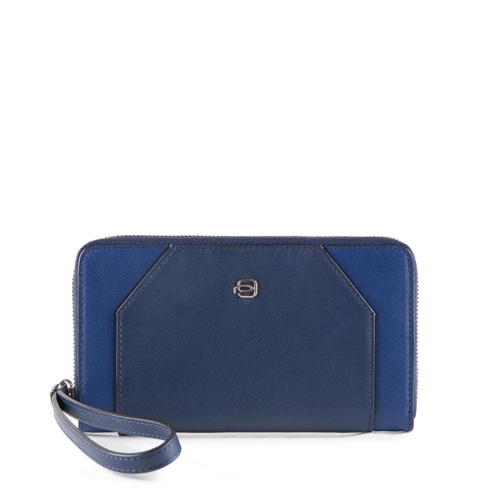 Piquadro Portafoglio donna Muse chiuso da zip con scomparto porta iPhone Blu