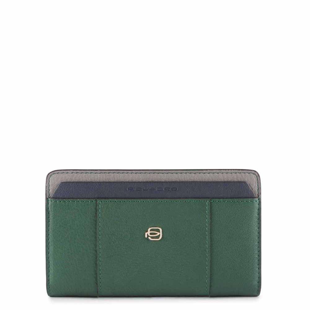 Piquadro Portafoglio donna,porta monete,car credito pelle Circle Verde grigio e blu
