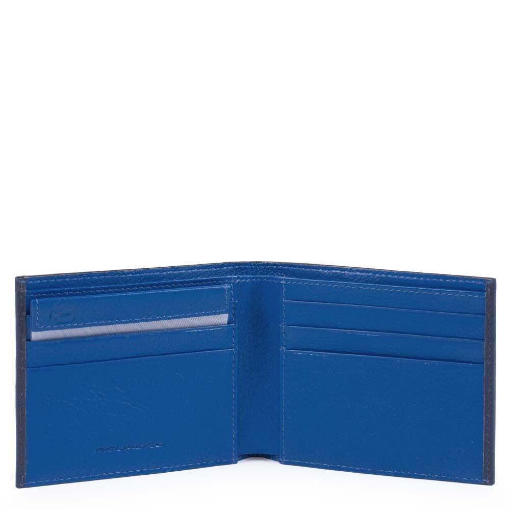 Piquadro Portafoglio Splash uomo con portadocumenti rimovibile Blu